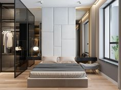 Boutique lux Minimalism. Glass open concept wardrobe and mirrors