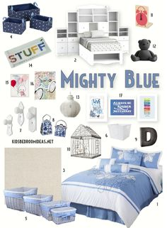 Who says blue is for boys? You can do great things for a girl's bedroom with the color blue. It can be terrifically girly if you do it right. That means paying attention to textures, shapes and accent colors. Click through to see where everything came from.