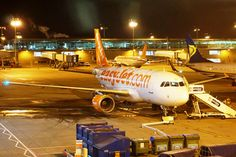 EasyJet at London Stansted airport Easy Jet, Let's Have Fun, Airports, Dusk, Planes, United Kingdom, Aviation, London, Night