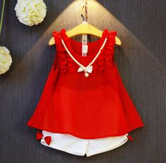 Girls Clothing Sets 2017 New Summer Girls Clothes Sleeveless Chiffon Necklace Tops + Shorts Suits Kids Clothes - Kid Shop Global - Kids & Baby Shop Online - baby & kids clothing, toys for baby & kid Baby Girl Dresses, Baby Dress, Kids Outfits, Summer Outfits, Baby Shop Online, Moda Casual, Short Suit, Stylish Kids, Kind Mode