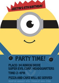 Despicable Me - Minion Invites