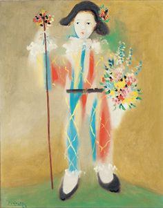 Pablo Picasso  (1881-1973)  :   le petit Pierrot aux fleurs  (1923)