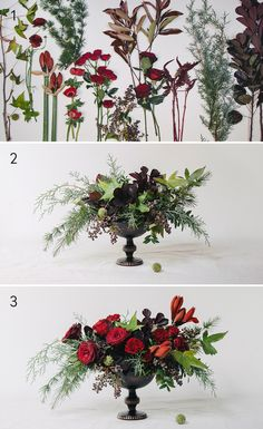 A lush, red and green bouquet that looks festive, but not overly Christmassy.