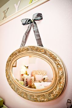 I have a mirror I could do this with. Hmmm....   #french #themed #nursery #art #paris #france #parisian #chanel #fashion