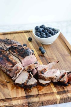Blueberry Grilled Pork Tenderloin Recipe Main Dishes with frozen blueberries, maple syrup, extra-virgin olive oil, balsamic vinegar, garlic… Roast Pork Chops, Pork Tenderloin Recipes, Roast Beef, Marinated Pork Chops Grilled, Pork Cooking Temperature, Smoothies, Crockpot, How To Cook Fish, Tasty