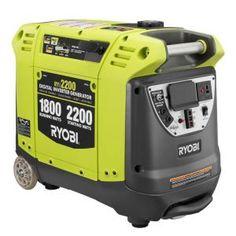 Ryobi, 2,200-Watt Green Gasoline Powered Digital Inverter Generator, RYI2200 at The Home Depot - Mobile