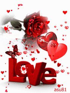 Imagenes I Love You Corazones y Rosas Con Movimiento