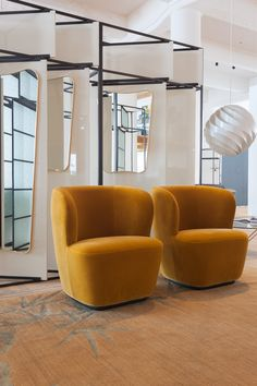 GUBI Showroom // Stay Lounge Chair by Space Copenhagen together with Turbo Pendant by Louis Weisdorf