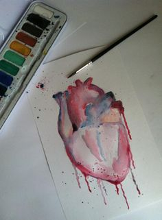 Anatomical Heart Watercolour by MasochisticHeartache.deviantart.com on @deviantART