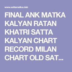 Final Ank 143 Kalyan Final Kalyan Matka