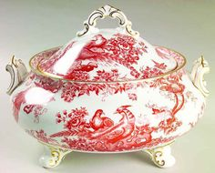 Royal Crown Derby RED AVES Round Covered Vegetable Bowl 544395 #ROYALCROWNDERBY