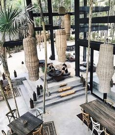 Palm trees inside of our restaurant Moro because, why not? Resort Interior, Cafe Interior, Interior And Exterior, Commercial Design, Commercial Interiors, Lounges, Casa Wabi, Casa Cook, Interior Decorating