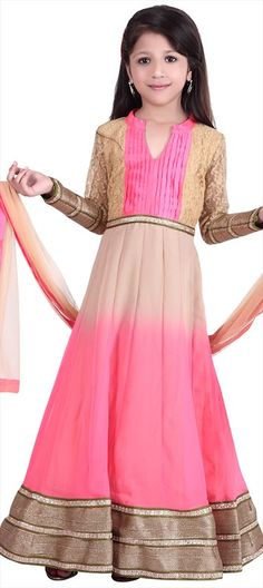 200668: #Anarkali #Georgette, #Silk, Gota Patti, Patch, Zari, Border, #lace  #ombre #pink #salwarkameez #kidswear #ethnic #girlswear #partywear #wedding #bridesmaid