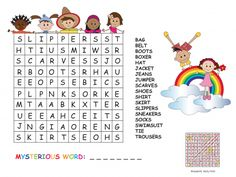 Practice clothing terminology with this fun and free word search! Word Brain Games, Clothes Words, Free Word Search, Jean Jumper, T Bag, Vocabulary, Activities For Kids, Classroom, Education