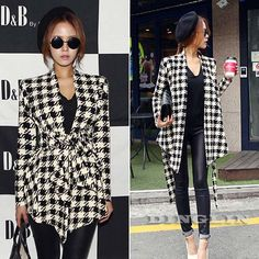 TFGS 2017 Fashion Spring Autumn Jacket Women Long Sleeve Houndstooth Print Top Casual Slim Belt Peplum Cardigan Coat Outerwear L Winter Jackets Women, Coats For Women, Clothes For Women, Shop Man, Mode Ab 50, Plaid Fashion, Fashion Women, Plaid Jacket, Peplum Jacket
