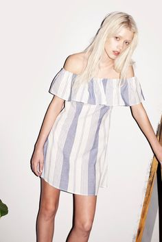 Spanish Shoulderless Mini Dress Blue Stripe