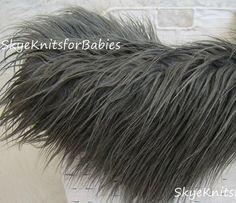 "Small Size Mongolian Faux Fur, Gray, Rug Nest 15x16"", Beautiful Photography Prop"