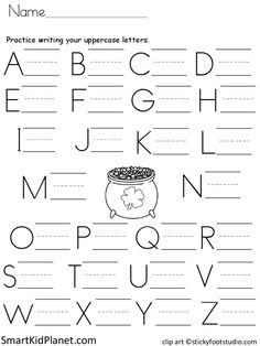 Free Print Practice Uppercase Letters (St. Patrick's Day) – Smart Kid Planet