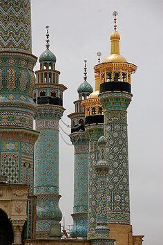 Fatima shrine minarets in Qom, Iran  It's a beautiful world