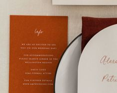 Info and details for wedding cards. Gorgeous burnt orange wedding colour with white ink printing. Beautiful Calligraphy, Modern Calligraphy, Wedding Details Card, Wedding Cards, Stationery Design, Wedding Stationery, Our Wedding Day, Fall Wedding, Orange Wedding Colors