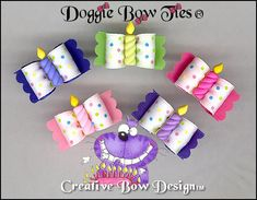 Five colors dotted satin Dog Bows are embellished with Birthday candles in matching colors Dog Hair Bows, Dog Bows, Happy Birthday Puppy, Dog Travel Carrier, Matching Colors, Diy Ribbon, Pet Collars, Neckties, Bandanas