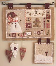 *Patch Noël, pour la belle idée* christmas decoration ornament sew burlap country style red brown white embroidery applique