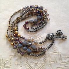 Items similar to Milky gray, eggplant purple, matte gold, iridescent lavender crystal & pearl crocheted boho beaded wrap bracelet or necklace, holiday gifts on Etsy Vintage Jewelry Crafts, Diy Crafts Jewelry, Handmade Jewelry, Crochet Beaded Necklace, Beaded Wrap Bracelets, Boho Jewelry, Beaded Jewelry, Jewelry Design, Eggplant Purple