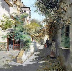 Manuel García Y Rodriguez - Street Scene In Granada 1890 Watercolor Landscape, Landscape Art, Landscape Paintings, Watercolor Paintings, Watercolour, Rennaissance Art, Beauty In Art, Spanish Artists, Realistic Paintings