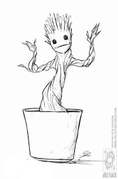 Enjoy coloring this free printable Groot and Rocket Raccoon