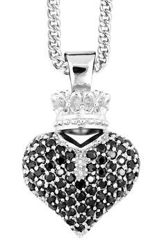 King Baby Studio Ladies' Sterling Silver & Black Zirconia 3D Heart Pendant