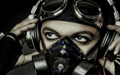 headphones people gas masks goggles faces  / 1920x1200 Wallpaper