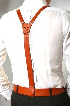 Купить Подтяжки кожаные рыжие (портупея) Макс Шаров art № 073 - рыжий, однотонный