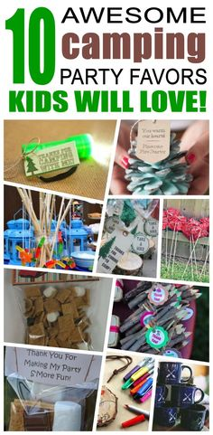 Great camping party favors kids will love. Fun and cool camping birthday party favor ideas for child Camping Party Favors, Camping Parties, Birthday Party Favors, Camping Theme, Birthday Celebration, Birthday Parties, Camping Games, Birthday Party Games For Kids, Birthday Gifts For Boys