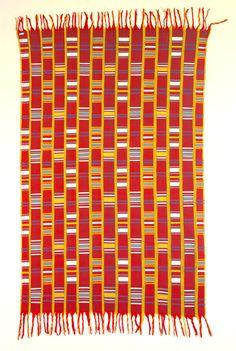 Africa | Akwete cloth from the Igbo of Nigeria | Cotton; warp striped with single face supplementary wefts | ca. 1st half of the 20th century