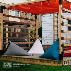 The Toja Grid modular pergola system providing summer shade over the Toja Sail Marine Bean Bag Chair! Diy Pergola Kits, Bean Bag Sofa, Wood Post, Outdoor Retreat, Nautical Design, Diy Patio, Patio Chairs, Outdoor Living, Sail Shade