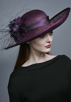 Rachel Trevor Morgan Millinery AW 2016 | R16W6 - Purple fine straw hat with feather flowers and peacock