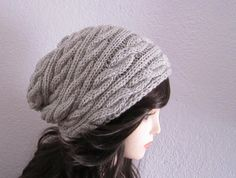 Light Gray Wool Cabled Slouchy Hat  Ready to Ship by mymayamade, $43.99