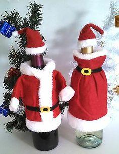 Set of 2 New Santa Mrs Claus Wine Bottle Covers Christmas Decorations Ships Free | eBay