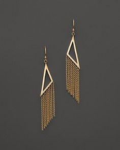 Zoë Chicco 14K Yellow Gold Vertical Triangle Fringe Earrings