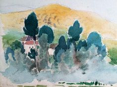 Village in Southern France with mountain - unknown artist, 1924 ($15)