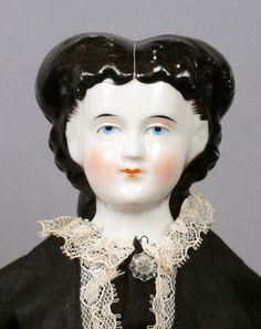"Gorgeous Dark Beautiful 17"" Antique China Lady w Uncommon Wrapped Dutch Braid 