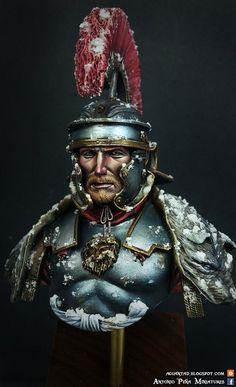 Roman Centurion 180 A.D by Antonio Peña Miniatures · Putty&Paint Warrior Concept Art, Anglo Saxon History, Rome History, Roman Armor, Roman Centurion, Roman Warriors, British Uniforms, Roman Legion, Roman Soldiers