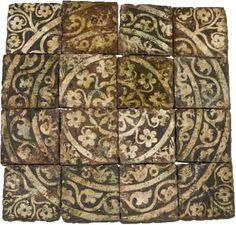 Ensemble de pavement, chateau de Chaource vers 1300. France / Medieval / pavement / ornement / art / gothic / 14th century