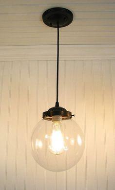 Biddeford. Glass PENDANT Light Large - Clear Glass Lighting Fixtues - The Lamp Goods - 2