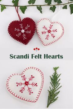 A set of two hand stitched felt ornaments, embroidered with a snowflake pattern in red and white and finished with blanket stitched edging and small buttons.The star measures 4 inches/10cm across and the heart measures 3.5 inches/ 8.5cm across.In the menu options you can choose the white set, the dark red set, the two hearts, the two stars or the complete set of four. #scandichristmas #feltchristmasornaments #starornament White Snowflake, Snowflakes, Scandi Christmas, Felt Christmas Ornaments, Snowflake Pattern, Blanket Stitch, Star Ornament, Felt Hearts, Handmade Felt