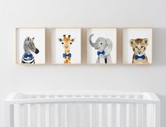 Safari babies Set of 4 Prints Animal Paintings zebra Tropical Nursery, Animal Paintings, Floating Shelves, Safari, Babies, Handmade Gifts, Prints, Animals, Etsy