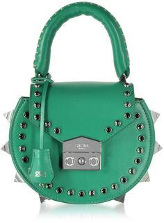 Salar Mimi Ring Studded Leather Shoulder Bag