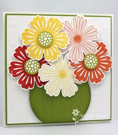 Stampin Up Mixed Bunches, Stripes Embossing Folder, Blossom Punch, Circle Framelits
