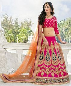 Pink and orange lehenga with zari and resham embroidery Pink and orange net banglori silk Zari stone and mirror embroidered border Comes with matching unstitched blouse Orange Lehenga, Raw Silk Lehenga, Lehenga Saree, Indian Dresses, Indian Outfits, Suits For Women, Clothes For Women, Lehenga Wedding, Indian Clothes Online