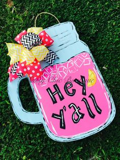 "24"""" Custom """"Hey Y'all"""" Wooden Lemonade Door Hanger with Handle and Matching Bow - Choice of Pink or Yellow Lemonade (Bow May Differ from Picture)"